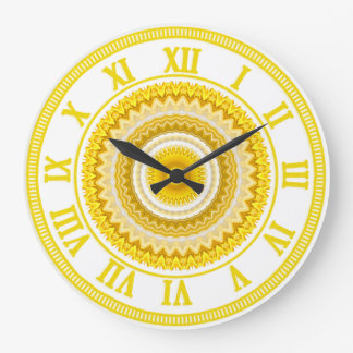 Yellow Daffodil Mandala Pattern Wall Clock