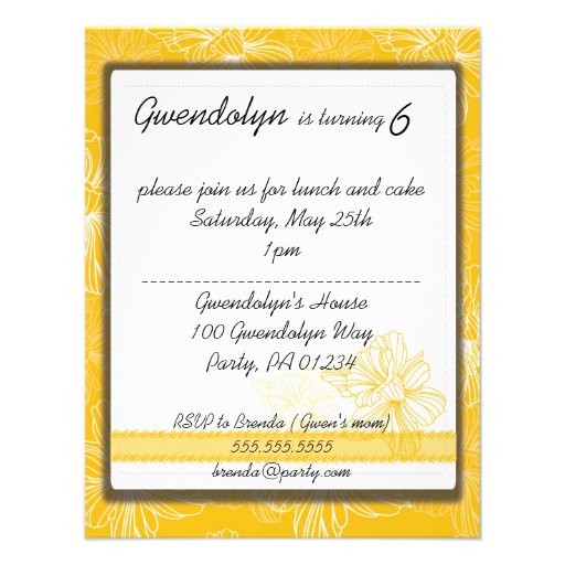 Yellow Daffodil Party Invitation Cards
