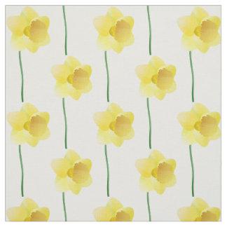 Yellow daffodil spring flower on custom background fabric