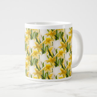 Yellow Daffodil Wallpaper Pattern Large Coffee Mug