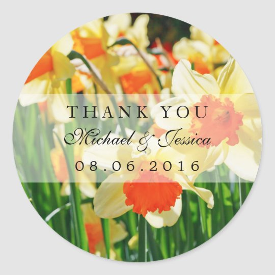 Yellow Daffodils Flower Wedding Favour Stickers