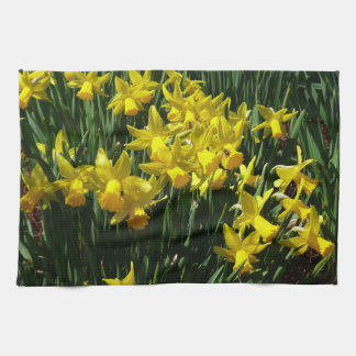 Yellow Daffodils I Cheery Spring Flowers Kitchen Towel