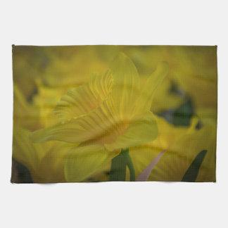 Yellow daffodils kitchen towel