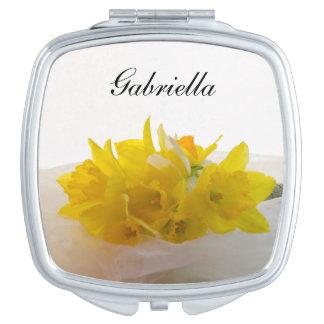 Yellow Daffodils on White Spring Wedding Makeup Mirrors