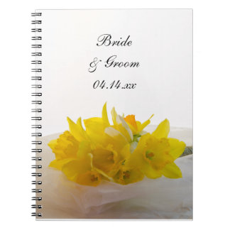Yellow Daffodils on White Spring Wedding Notebooks