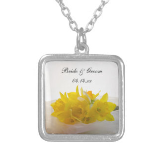 Yellow Daffodils on White Spring Wedding Silver Plated Necklace