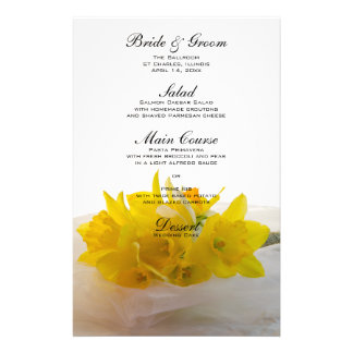 Yellow Daffodils on White Wedding Menu Stationery Paper