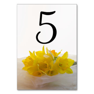Yellow Daffodils on White Wedding Table Numbers Table Card