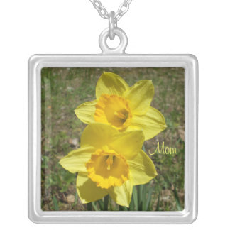 Yellow Daffodils Silver Plated Necklace