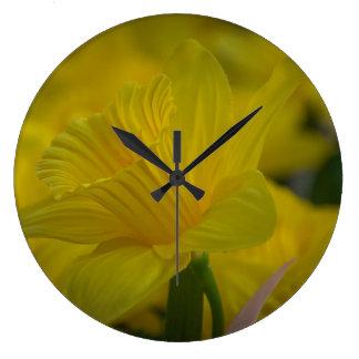 Yellow daffodils wall clock