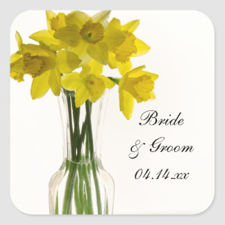 Yellow Daffodils Wedding Square Envelope Seals Sticker