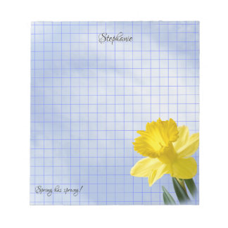 Yellow Daffodis Floral Photography Geometric Grid Notepad