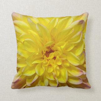 Yellow dahlia flower blossoms throw pillow