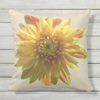 Yellow Dahlia Outdoor Pillow