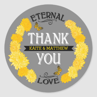Yellow Dahlia Wreath Modern Floral Thank You Label