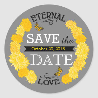 Yellow Dahlia Wreath Modern Save the Date Label Classic Round Sticker