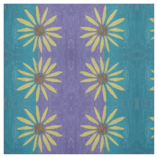 Yellow Daisies - green and purple background Fabric