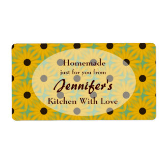 Yellow Daisies Homemade Kitchen Food Label
