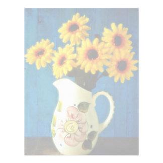 Yellow daisies in jug  flowers letterhead design