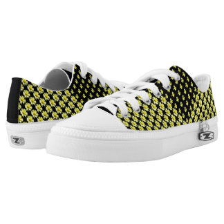 Yellow Daisies Motif on Black High Top Shoes