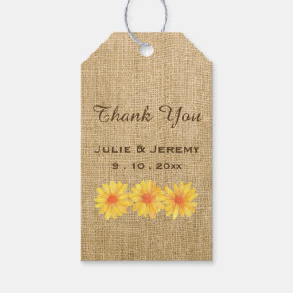 Yellow Daisies on Burlap Gift Tags