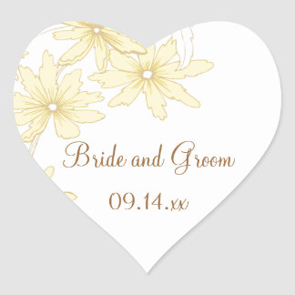 Yellow Daisies Wedding Heart Sticker