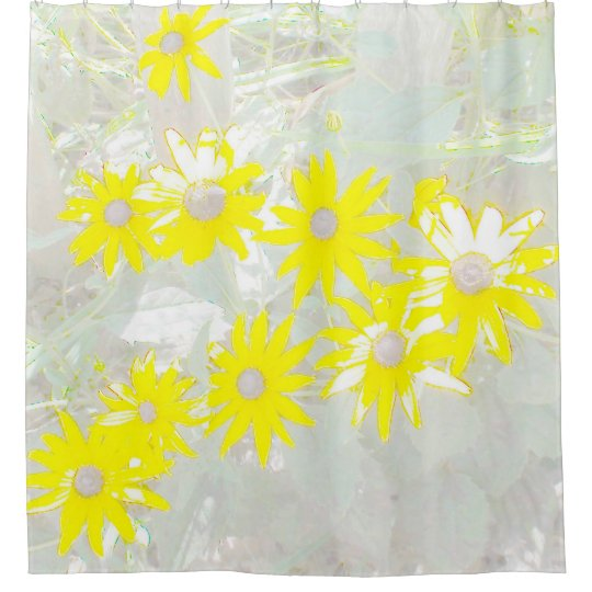 Yellow Daisies Yellow and Grey Shower Curtain