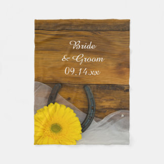 Yellow Daisy and Horseshoe Country Wedding Fleece Blanket