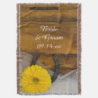 Yellow Daisy and Horseshoe Country Western Wedding Throw Blanket