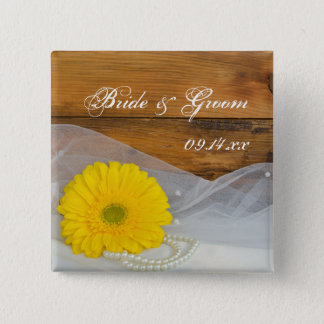 Yellow Daisy and Pearls Country Barn Wedding 2 Inch Square Button