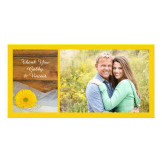 Yellow Daisy and Veil Country Wedding Thank You Photo Card