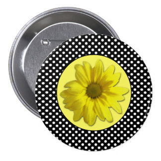 Yellow Daisy Black and White Polka Dots 3 Inch Round Button