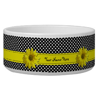 Yellow Daisy Black and White Polka Dots Pet Food Bowl