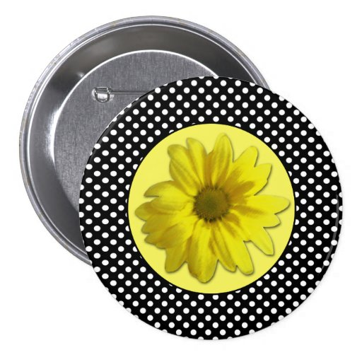 Yellow Daisy Black and White Polkadots Pinback Button