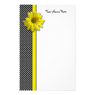 Yellow Daisy Black and White Polkadots Stationery Paper