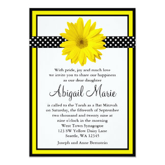 Yellow Daisy Black Polka Dots Bat Mitzvah Card