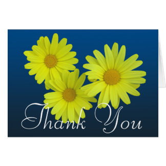 Yellow Daisy Colorful Photo Chic Floral Thank You Card