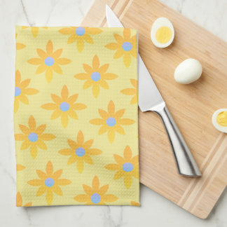 Yellow daisy design tea towel