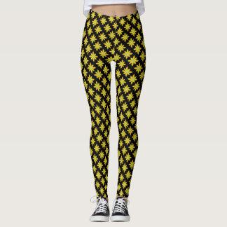 Yellow daisy floral black leggings
