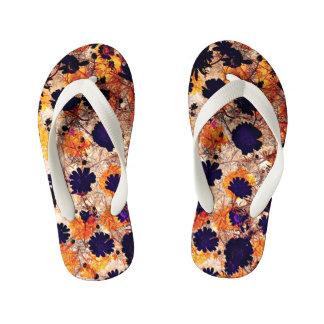 Yellow daisy flower floral pattern digital art kid's flip flops