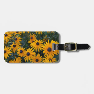 Yellow daisy garden flowers. bag tag