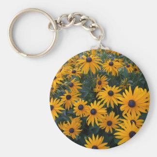 Yellow daisy garden flowers. basic round button keychain