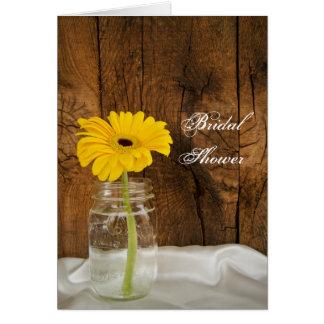 Yellow Daisy in Mason Jar Country Bridal Shower Card
