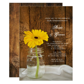 "Yellow Daisy in Mason Jar Country Engagement Party 5"" X 7"" Invitation Card"