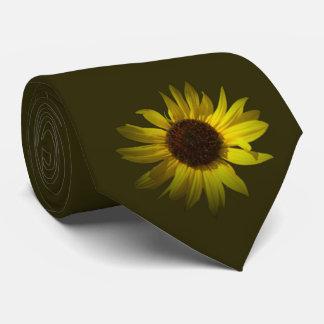 Yellow Daisy on Dark Green Tie