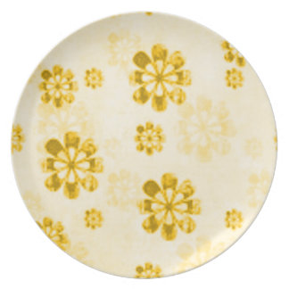 Yellow Daisy Retro Grunge Dinner Party Plate