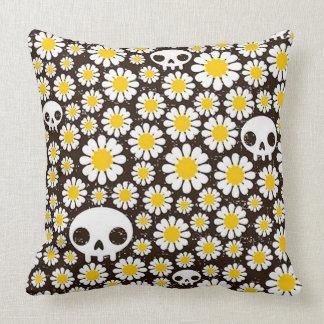 Yellow Daisy Skulls Throw Pillow