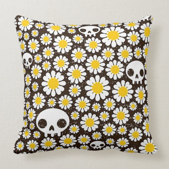 Yellow Daisy Skulls Throw Pillow