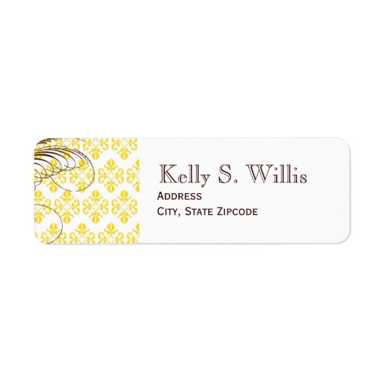 Yellow Damask Address Labels
