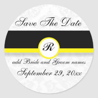 Yellow Damask Monogram Save The Date Reminders Classic Round Sticker
